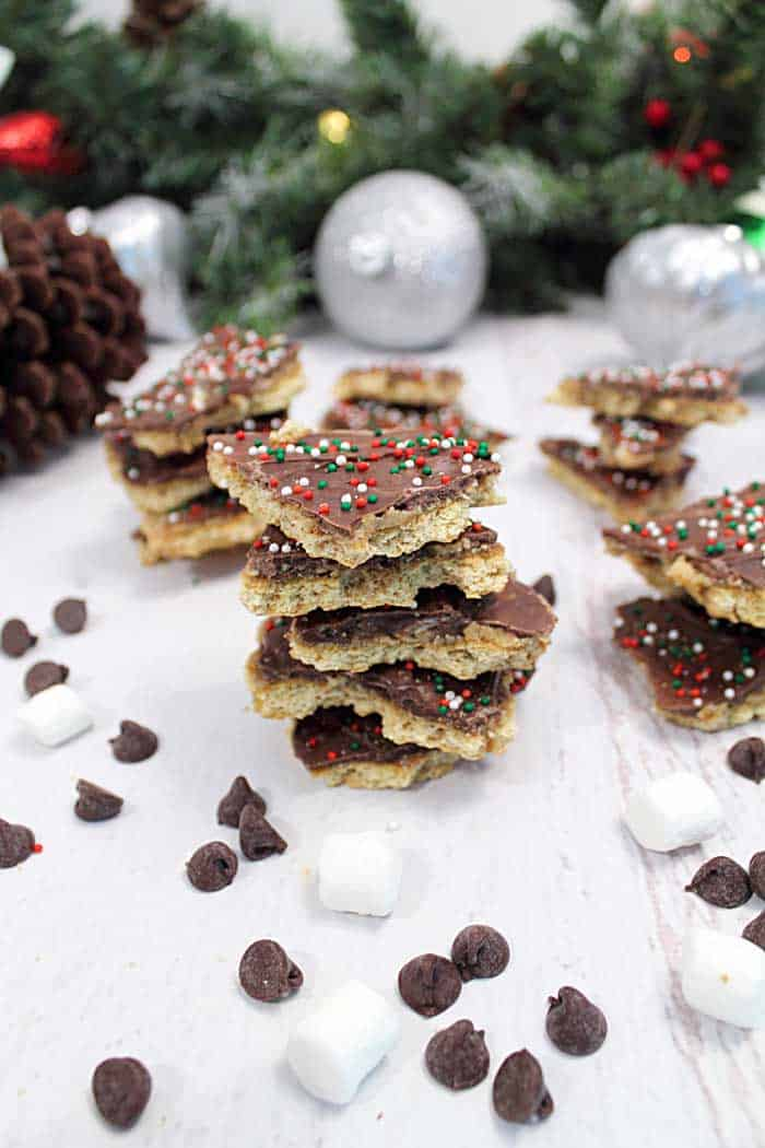 S'mores Christmas Crack stacked tall | 2 Cookin Mamas