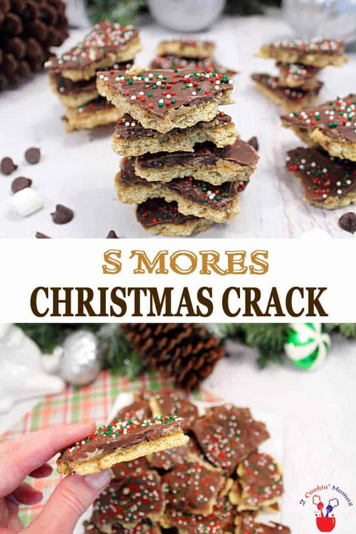 S'mores Christmas Crack | 2 Cookin Mamas S'mores Christmas Crack has all the deliciousness of s'mores wrapped up in a Christmas Crack package. Chocolate, marshmallows, caramel and graham crackers combine to make this deliciously crunchy & addictive snack. Great for holiday gifts too! #Christmascandy #s'mores #christmascrack #christmasbark #recipe #chocolate