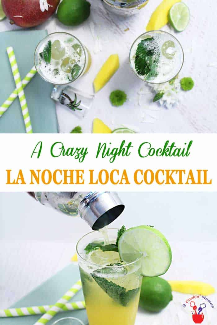 La Noche Loca Cocktail aka A Crazy Night cocktail | 2 Cookin Mamas La Noche Loca Cocktail, or a Crazy Night Cocktail, is a fruity take on a mojito. Traditional tequila, lime and mint leaves are sweetened with mango juice & livened up with sparkling water. A tasty, agave drink that will tickle your taste buds. #cocktail #tequila #mango #lime #recipe