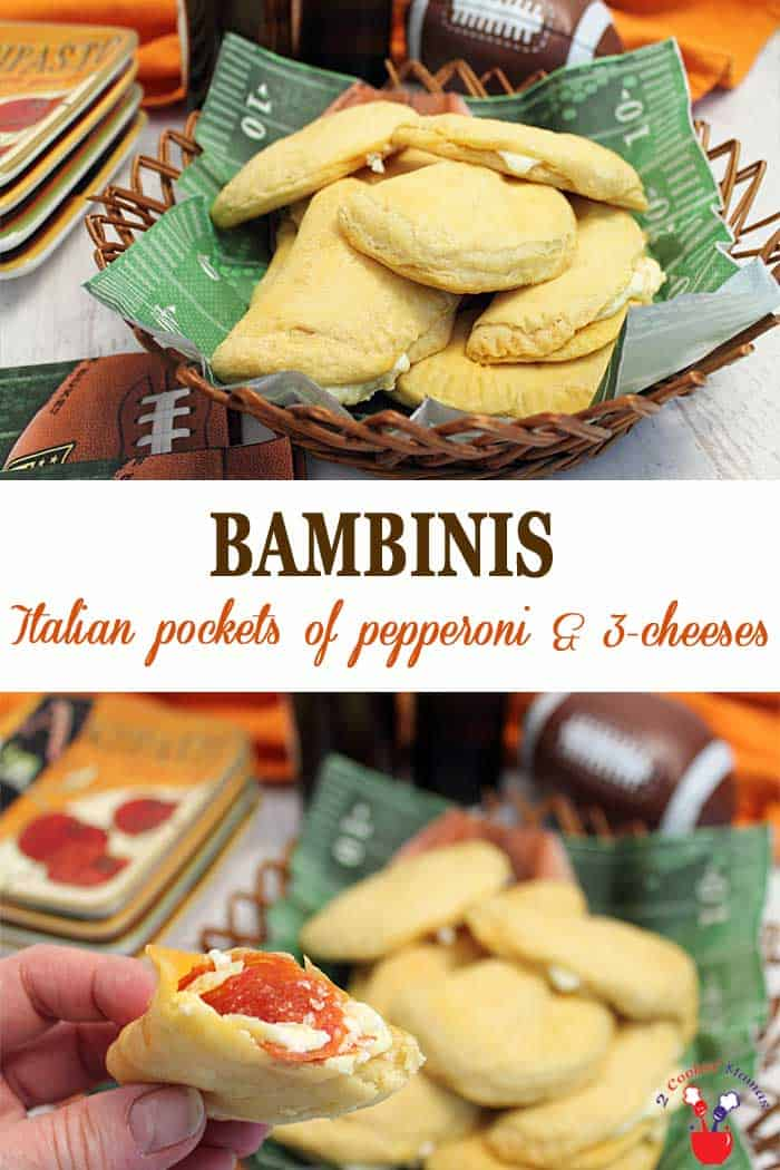 Bambinis | 2 Cookin Mamas Bambinis are little pockets of appetizer deliciousness. Pepperoni, mozzarella cheese, Parmesan and Ricotta are enclosed in a flaky biscuit. It's the perfect handheld yumminess for party time. #appetizer #footballappetizer #superbowlappetizer #pepperoni pepperonipockets