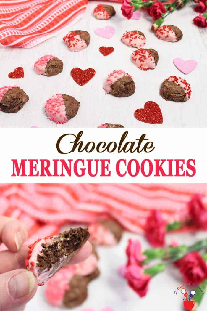 Chocolate Meringue Cookes | 2 Cookin Mamas These chocolate meringue cookies are as light as air and full of delicious chocolate flavor. Just whip up some egg whites, add a little sugar and rich dark cocoa and bake. They're perfect dipped in white chocolate for Valentine's Day or eaten just as they are. And they're gluten-free too! #meringuecookies #ValentinesDay #chocolatecookies #glutenfreecookies