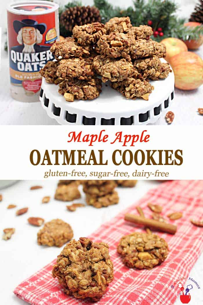 What's better than a soft, chewy oatmeal cookie? Our delicious Maple Apple Oatmeal Cookies made with whole grain oats, apples, nuts & bacon! They're dairy-free, gluten-free when using gluten-free oats, and perfect for snacks or part of breakfast! #recipe #cookies #breakfastcookies #onthegobreakfast #snack #oatmeal #apples #IHeartQuakerOats #ad @Quaker
