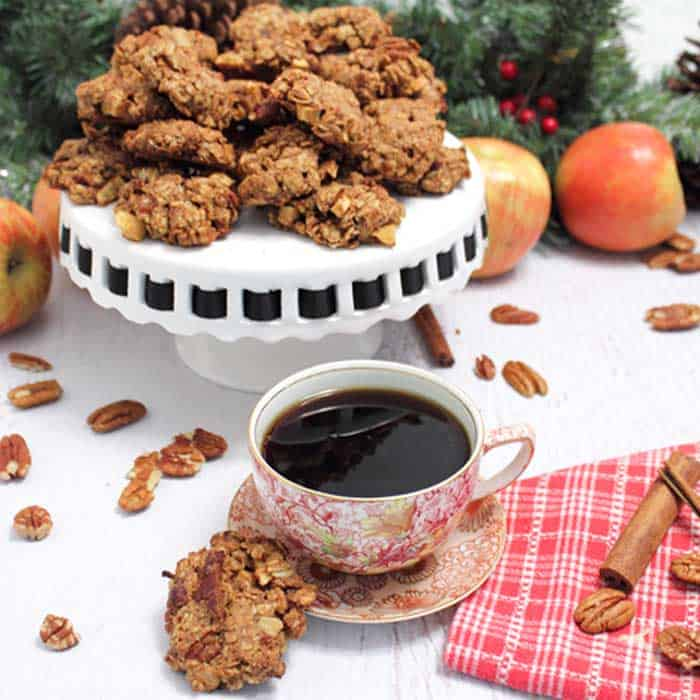 Maple Apple Oatmeal Cookies and a cup of coffee
