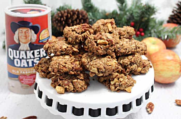 Maple Apple Oatmeal Cookies in front of a package of Quaker Oats
