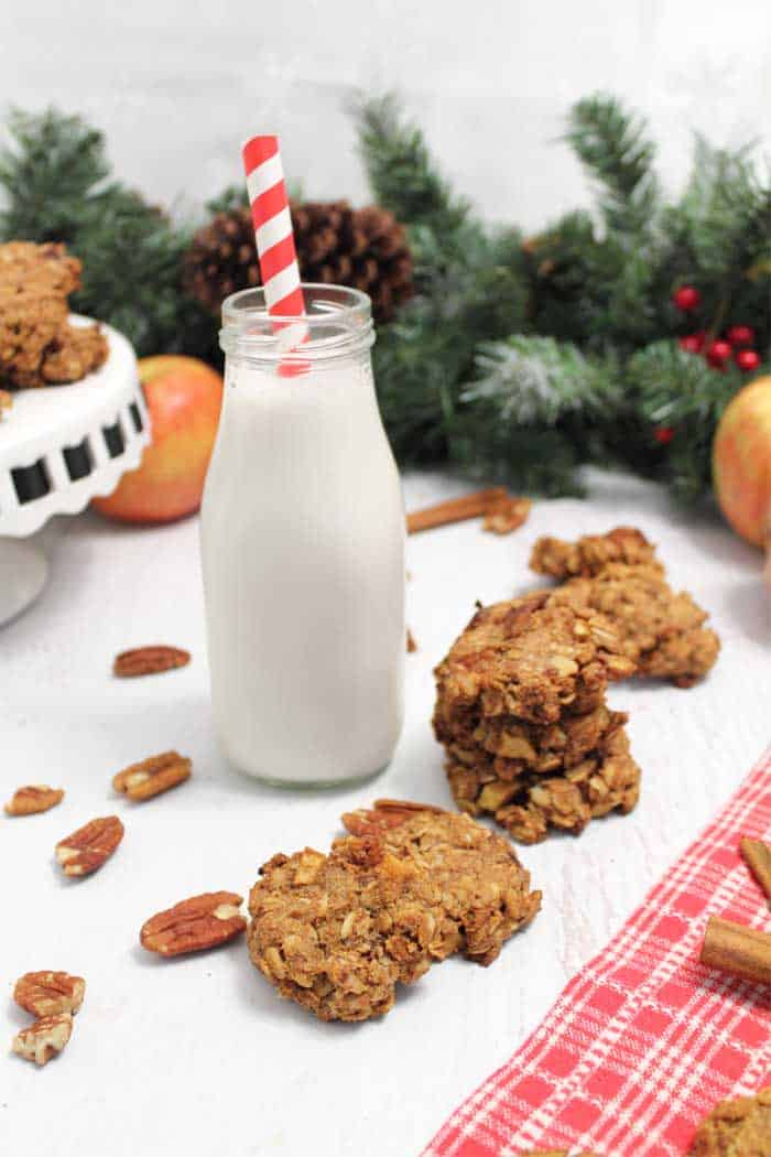 Maple Apple Oatmeal Cookies with milk tall | 2 Cookin Mamas