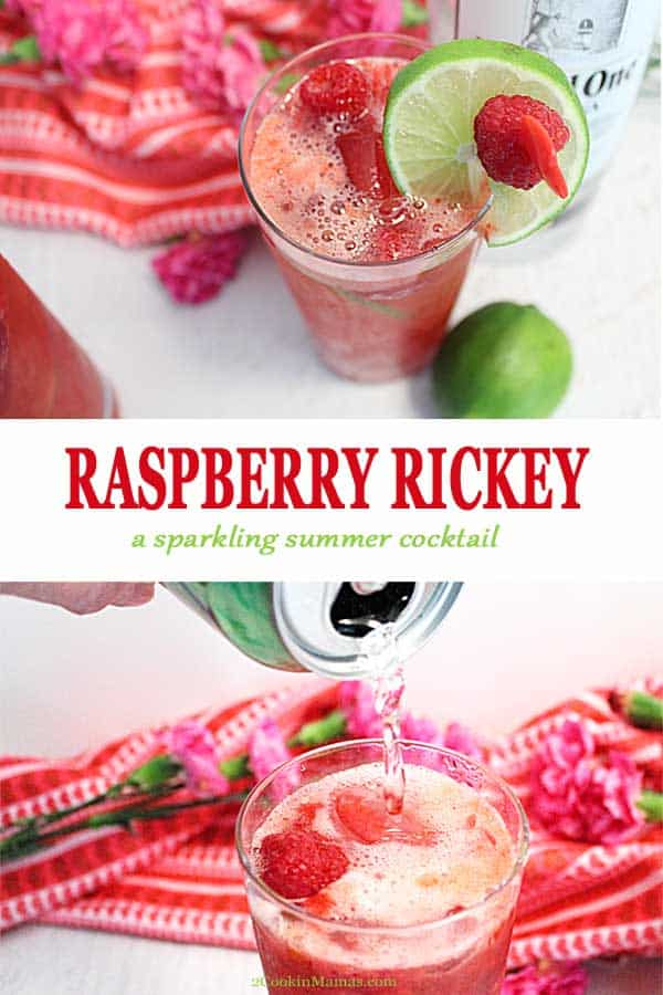This Raspberry Rickey Cocktail is fresh and fruity. Full of effervescence, it\'s a light, fruity vodka cocktail with the sweet taste of raspberries, a touch of lime and plenty of bubbly. It\'s the perfect refreshing summer drink. #cocktail #summer #vodka #raspberries #sparklingwater #champagne #recipe #happyhour #drink #ValentinesDay