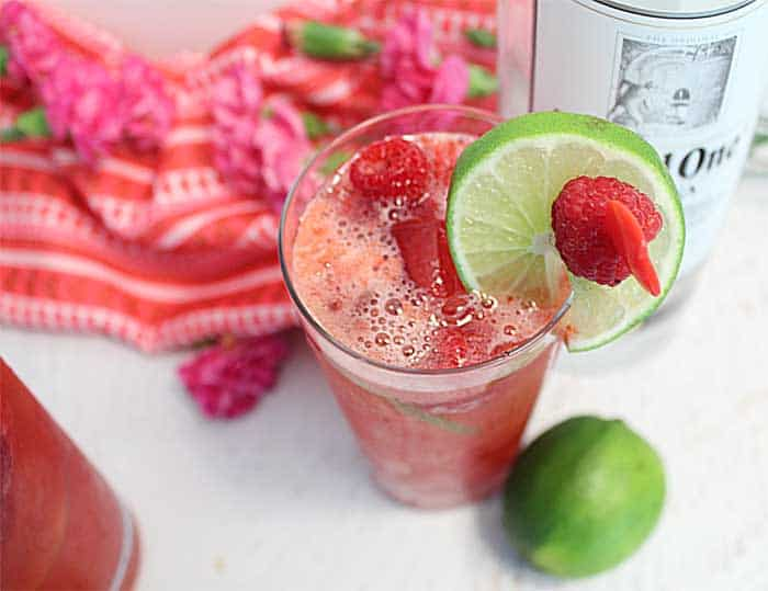 Red Raspberry Rickey overhead with vodka | 2 Cookin Mamas