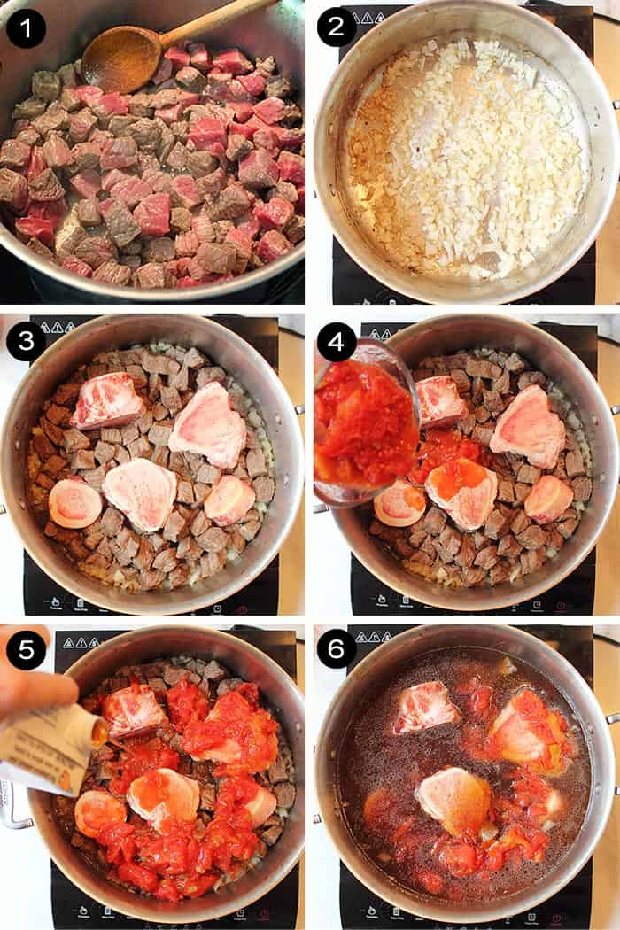 Steps 1-6 to make old fashioned vegetable beef soup.