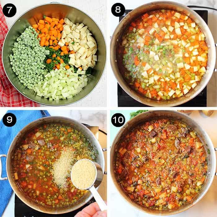 Steps 7-10 adding vegetables and pasta.