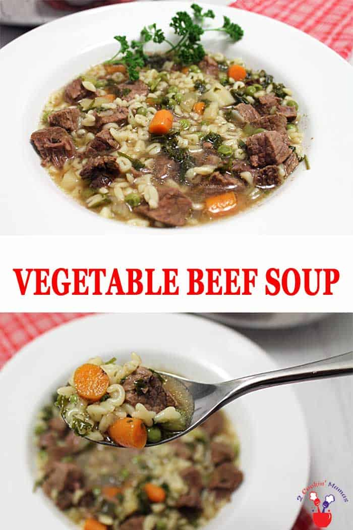 Homemade Vegetable Beef Soup | 2 Cookin Mamas My Dad's recipe for Homemade Vegetable Beef Soup can't be beat for its incredibly rich flavor. Full of tender chunks of beef and loaded with vegetables, it's a hearty, easy to make dinner for two or a crowd. #soup #beefsoup #beef #dinner #recipe