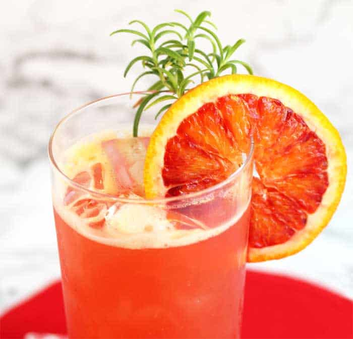 Blood Orange Cocktail / Island Breeze closeup | 2 Cookin Mamas