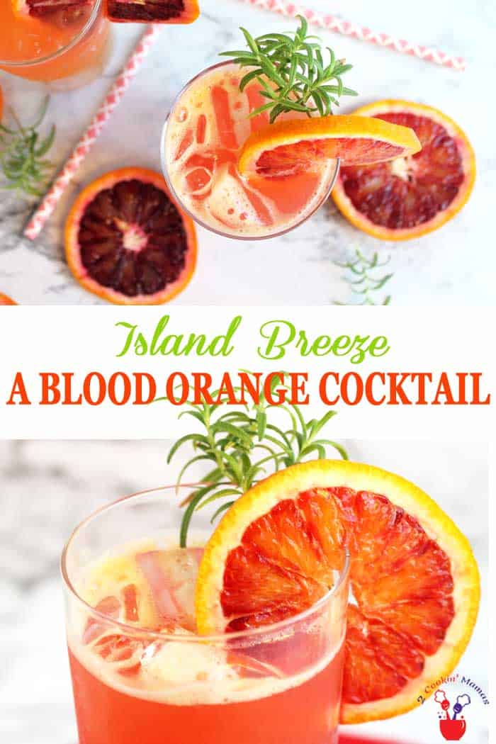 Blood Orange Cocktail / Island Breeze | 2 Cookin Mamas Get ready for summer with this tropical blood orange cocktail based on a Sea Breeze. The Island Breeze substitutes blood orange for grapefruit juice in this vodka drink while Cointreau is added to boost the delicious orange flavor. Easy and refreshing to make singly or by the pitcher. #cocktail #bloodoranges #summerdrink