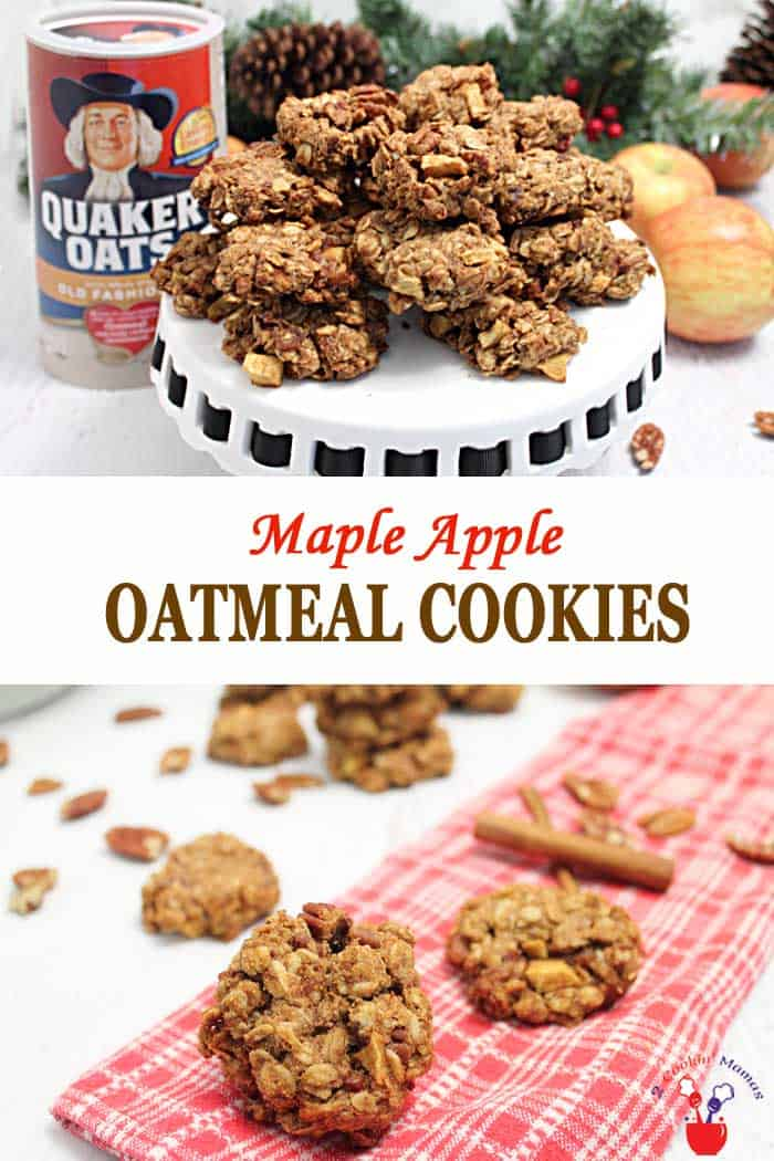 Maple Apple Oatmeal Cookies | 2 Cookin Mamas What's better than a soft, chewy oatmeal cookie? Our delicious Maple Apple Oatmeal Cookies made wtih whole grain oats, apples and nuts! They're sweetened with maple syrup & have warm notes of salty bacon mixed in. We've made them dairy-free, gluten-free if using gluten-free oats, perfect for snacks & also as part of breakfast.  #cookies #oatmealcookies #IHeartQuakerOats #ad #recipe #dairyfree