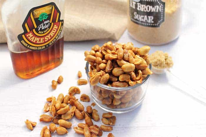 Maple Roasted Peanuts ingredients | 2 Cookin Mamas