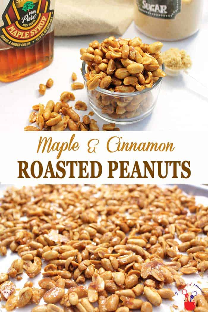 Maple Roasted Peanuts | 2 Cookin Mamas These Maple Roasted Peanuts are a sweet, crunchy, totally addictive snack. A nice change from plain ole peanuts, these maple cinnamon flavored nuts are baked until they have a nice crisp coating and they only take 15 minutes. Perfect for satisfying any craving! #peanuts #snack #maplesyrup #quickandeasyrecipe