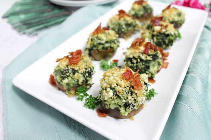 Spinach Stuffed Mushrooms plated | 2 Cookin Mamas