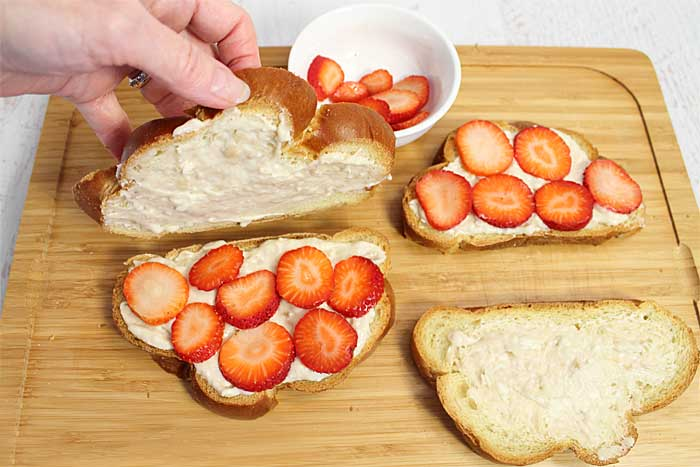 Strawberry Stuffed French Toast prep | 2 Cookin Mamas