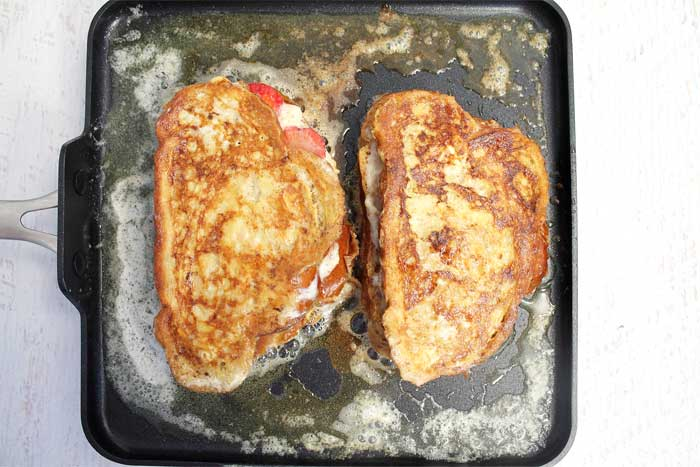 Strawberry Stuffed French Toast grilling | 2 Cookin Mamas