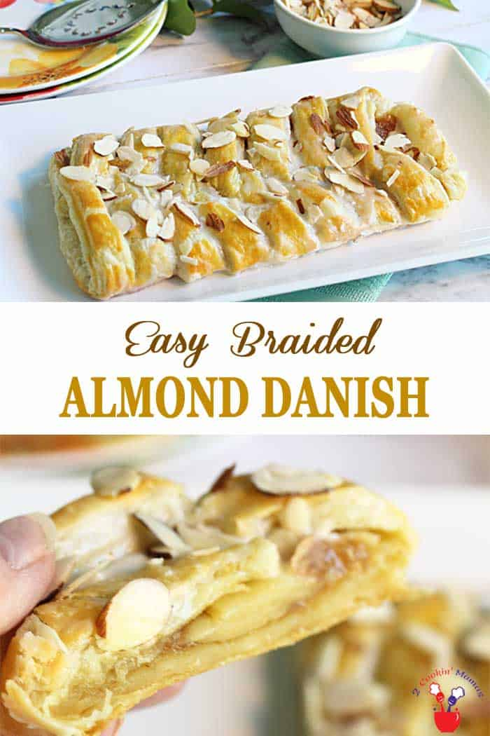 Almond Danish Braid | 2 Cookin Mamas This Almond Danish Braid is quick and easy and makes the sweetest breakfast treat. Puff pastry is brushed with butter, filled with almond filling and finished with a drizzle of vanilla icing. Now wait for the ooohs and aaahs 'cause it's absolutely irresistible! Easy braiding instructions will make anyone a pro. #breakfast #pastry #almond #recipe #almondbraid