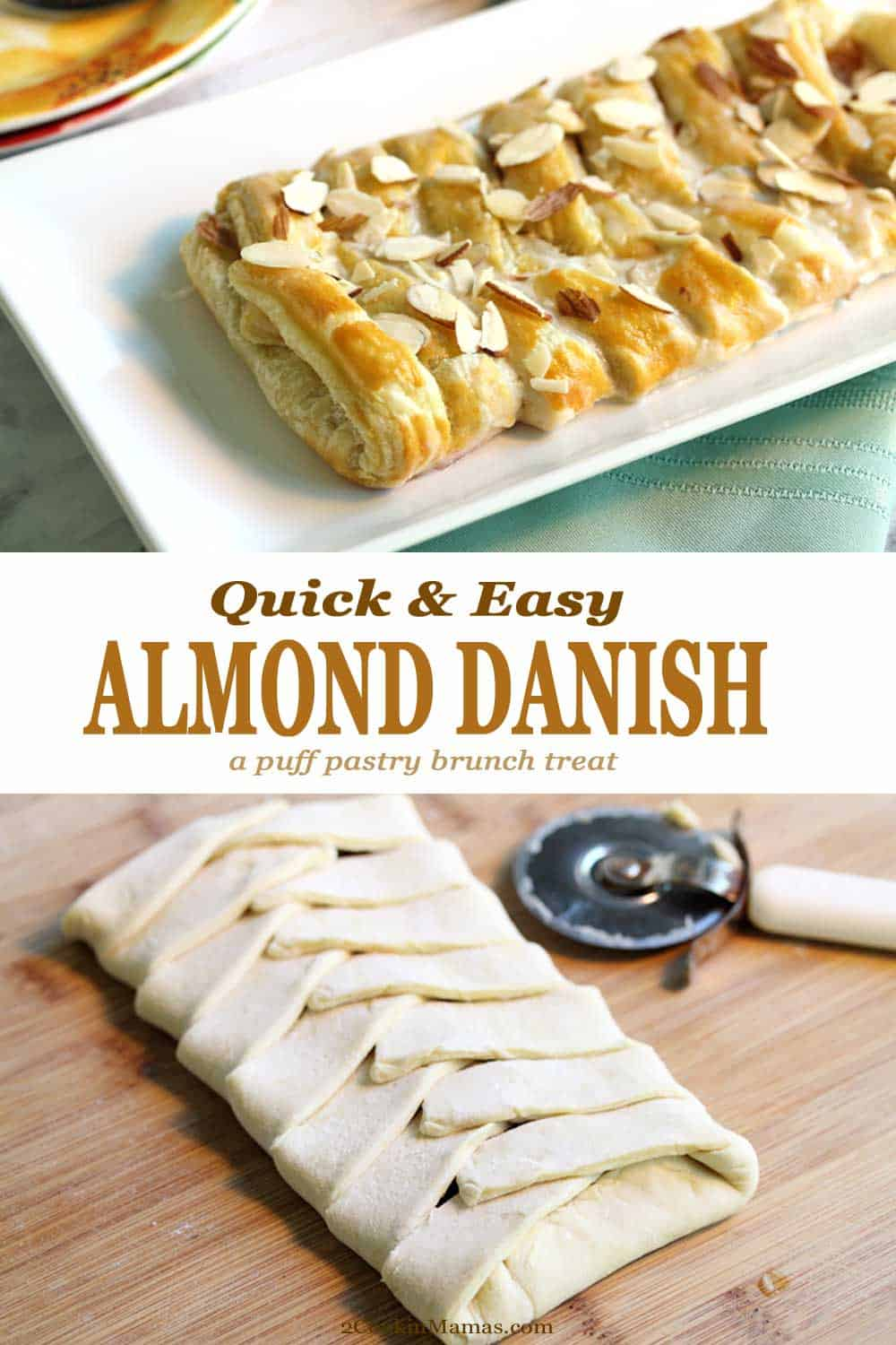 Almond Danish Brunch treat | 2 Cookin Mamas Easy to make danish starting with frozen puff pastry, spread with almond filling and drizzled with icing. Make this for Mother's Day, Christmas or any time you feel like treating yourself. #danish #breakfast #brunch #easy #recipe #puffpastry #almond