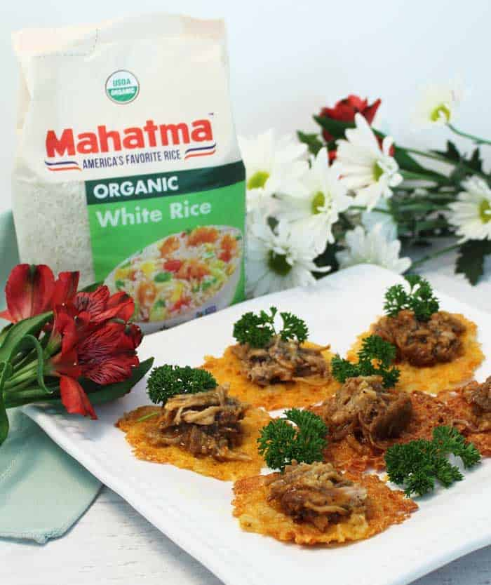 Cheesy Rice Crisps with Mahatma Rice and BBQ | 2 Cookin Mamas