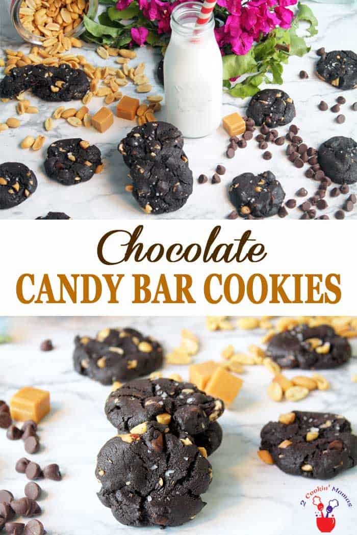 Chocolate Candy Bar Cookies | 2 Cookin Mamas These Chocolate Candy Bar Cookies are soft, chewy chocolaty cookies filled with peanuts, caramel and chocolate chips reminiscent of a Baby Ruth candy bar. They are so rich and delicious you won't be able to eat just one! #cookies #recipe #chocolatecookies #peanuts #caramel #chocolate