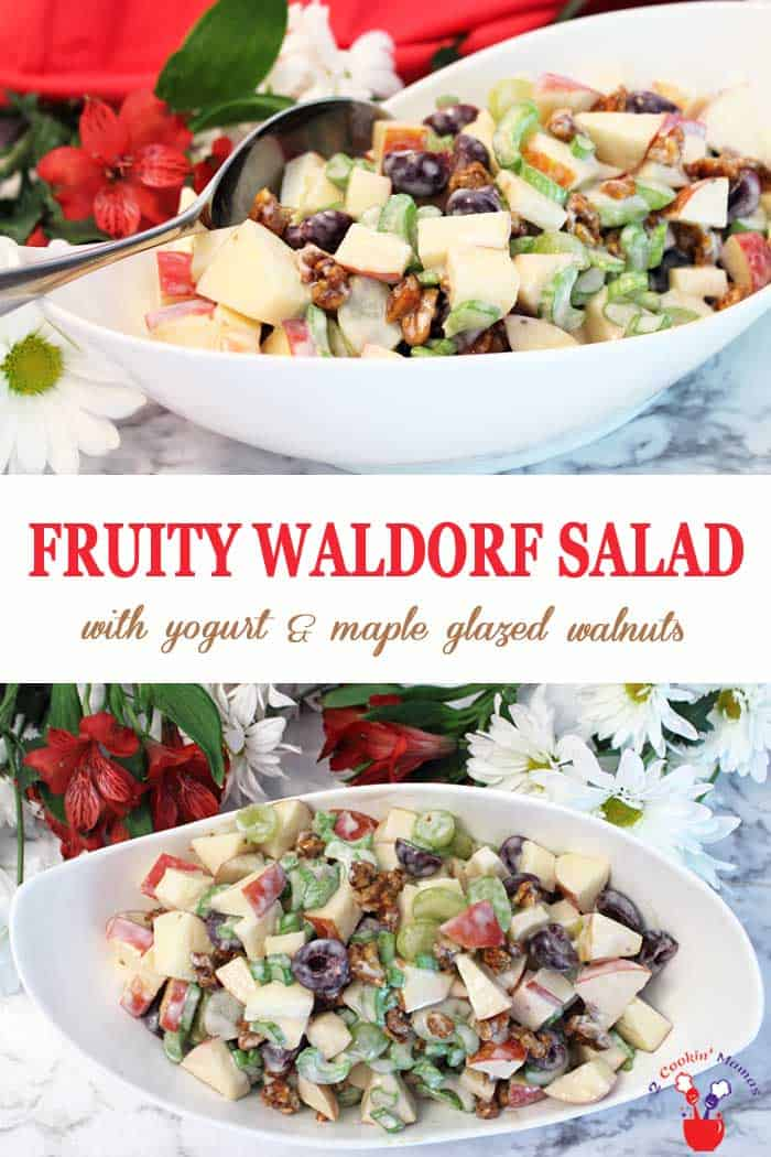 This easy to make fruity Waldorf Salad is the perfect side salad for a summer dinner, BBQs or as a light lunch. It's chock full of apples, grapes, cherries and celery and, to keep it on the healthy side, tossed with Greek style yogurt. And for a little extra crunchy sweetness there's a handful of maple glazed walnuts mixed in. Summer never tasted better! #salad #waldorfsalad #healthy #glutenfree #lunch #sidedish #apples #grapes #yogurtdressing