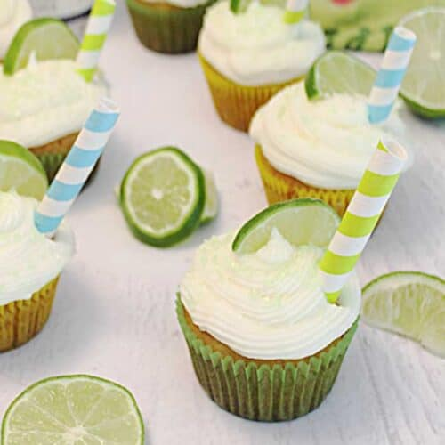 Easy Tequila Lime Cupcakes with Margarita Frosting square | 2 Cookin Mamas
