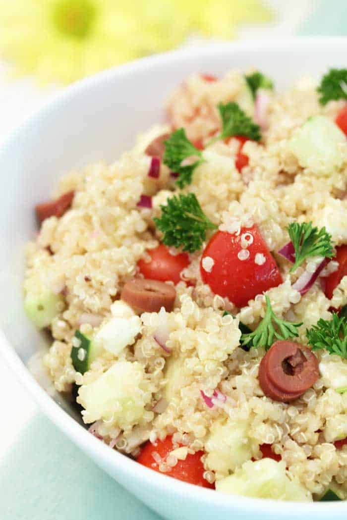Greek Quinoa Salad closeup tall | 2 Cookin Mamas
