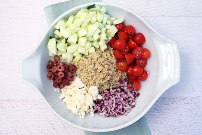 Greek Quinoa Salad ingredients | 2 Cookin Mamas
