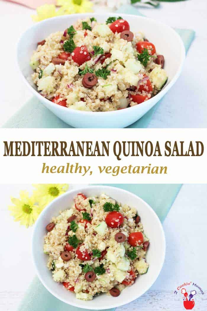 Mediterranean Quinoa Salad | 2 Cookin Mamas Greek Quinoa Salad is a hearty and healthy salad that's perfect for the warm summer days ahead. Quinoa is combined with cucumbers, tomatoes and the best of Greek flavors, olives and feta cheese, then dressed with an olive oil dressing to give you a heart-healthy lunch, vegetarian dinner or an easy side dish. #salad #quinoa #healthy #vegetarian #glutenfree #Greek #recipe #easyrecipe