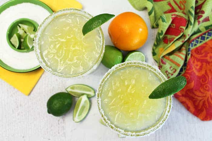 Margaritas on the rocks overhead | 2 Cookin Mamas