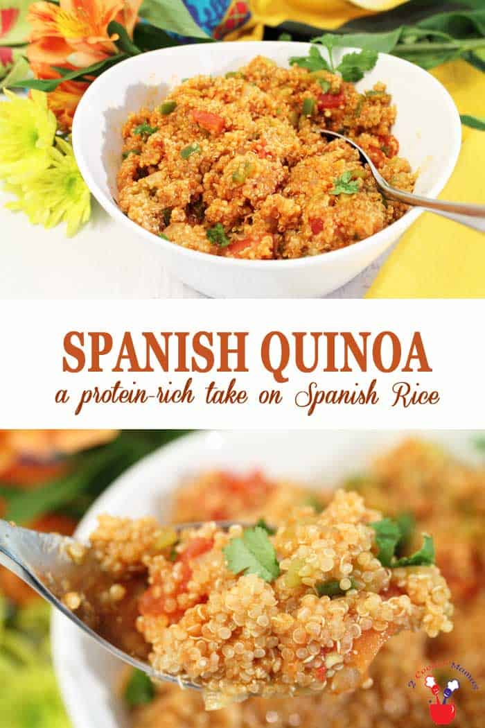 Spanish Quinoa | 2 Cookin Mamas Spanish Quinoa is a protein-boosted take on your favorite.Spanish Rice. All the same delicious flavors of tomatoes, onions, peppers and diced green chiles are there and it takes less than 30 minutes from start to finish. #quinoa #sidedish #spanishrice #dinner #recipe