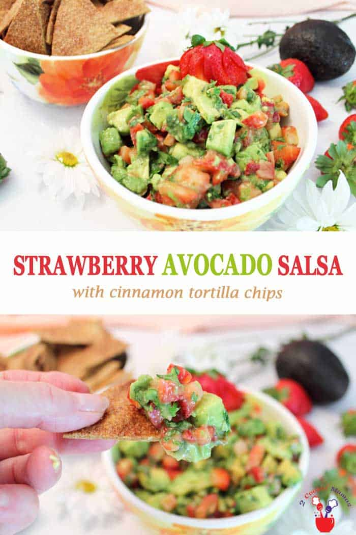 Strawberry Avocado Salsa is a deliciously bright, summery salsa that\'s the perfect blend of creamy avocado, sweet strawberries and spicy jalapenos. It takes just 10 minutes and 5 ingredients to make this healthy dip for your next party, picnic or barbecue. It\'s so good you won\'t want to stop eating it til it\'s gone! #salsa #appetizer #dip #strawberries #avocados #cinnamonchips #recipe