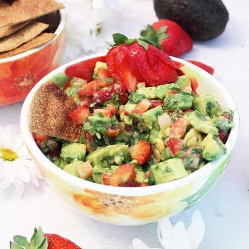 Strawberry Avocado Salsa and Cinnamon Tortilla Chips square | 2 Cookin Mamas