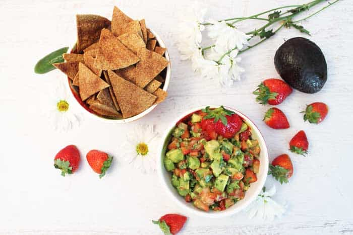 Strawberry Avocado Salsa and Cinnamon Tortilla Chips overhead | 2 Cookin Mamas