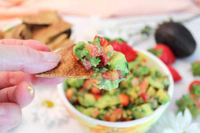 Strawberry Avocado Salsa bite | 2 Cookin Mamas