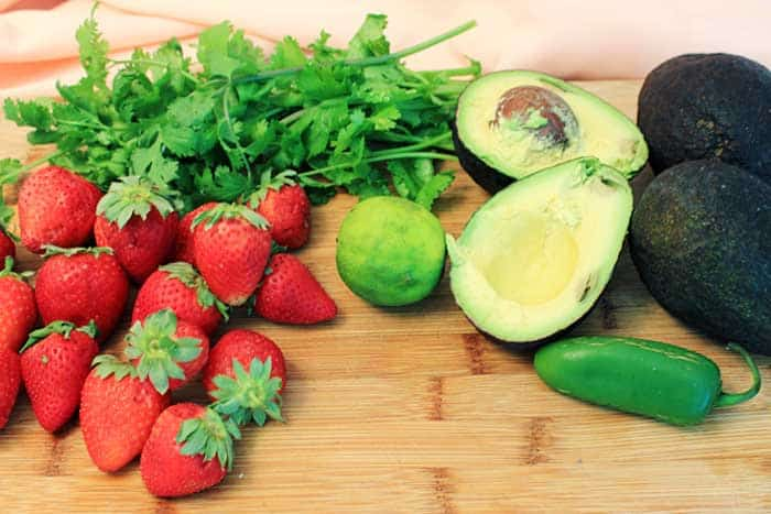 Strawberry Avocado Salsa ingredients | 2 Cookin Mamas
