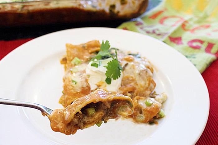 Creamy Beef Enchilada Casserole bite | 2 Cookin Mamas