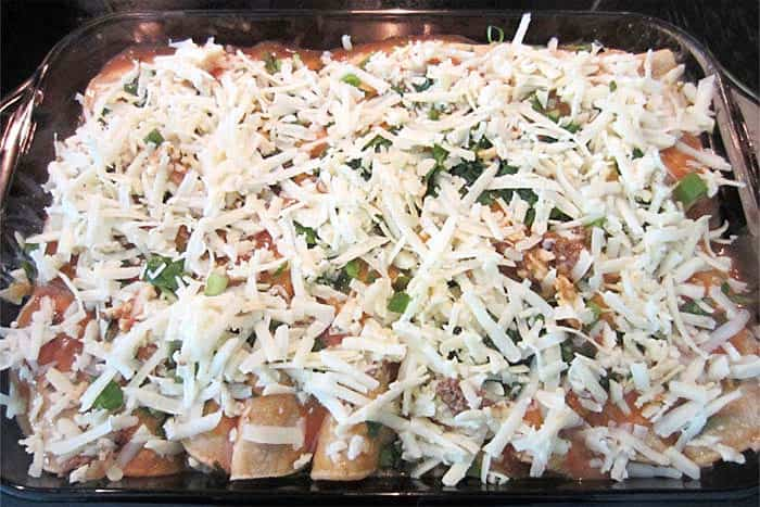 Creamy Beef Enchilada Casserole ready to bake | 2 Cookin Mamas