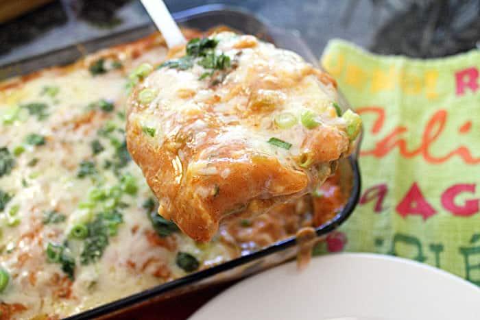 Creamy Beef Enchilada Casserole serving 1 | 2 Cookin Mamas