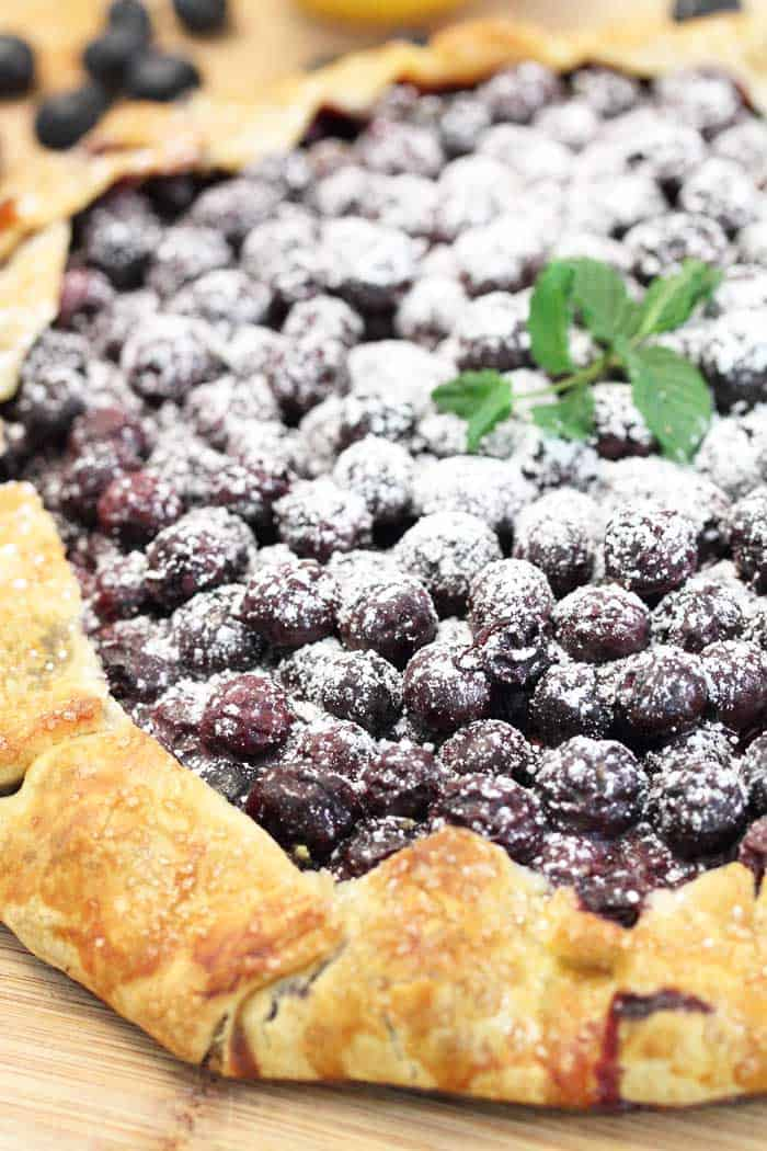Easy Rustic Blueberry Galette closeup | 2 Cookin Mamas