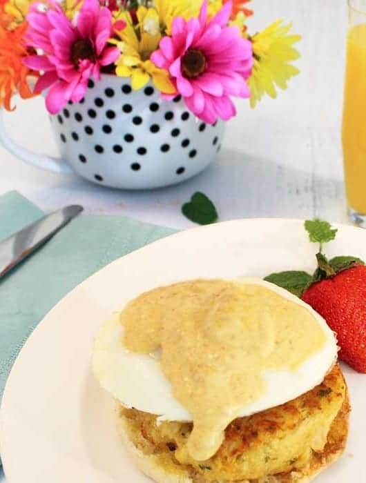 Crab Cakes Eggs Benedict plated | 2 Cookin Mamas