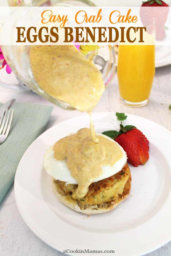 A delicious & easy way to fix Crab Cake Eggs Benedict that takes less than 20 minutes. Whip up a super easy Hollandaise sauce, add a store bought crab cake & believe me, breakfast never tasted so good! Great for special occasions like Mother's Day, wedding or just a lazy weekend treat. #eggs #breakfast #crab #recipe #eggsbenedict #easyrecipe #brunch #MothersDay
