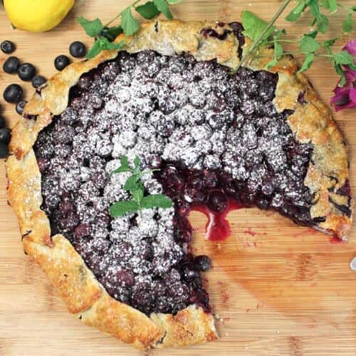 Easy Rustic Blueberry Galette square | 2 Cookin Mamas