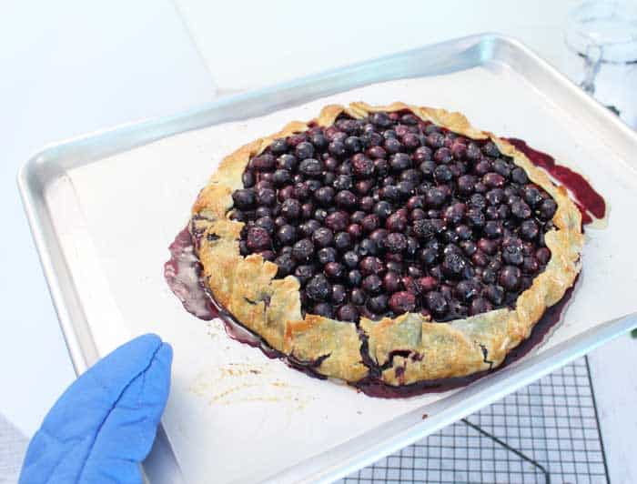 Easy Rustic Blueberry Galette baked | 2 Cookin Mamas