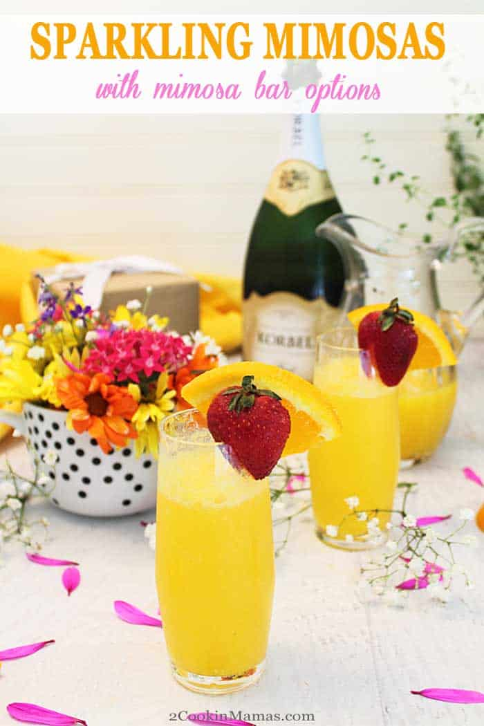 Sparkling Mimosas | 2 Cookin Mamas These Sparkling Mimosas are not only delicious but super easy to make too. Just 2 ingredients, fresh orange juice & champagne, make this incredibly refreshing cocktail. It's the perfect drink for any holiday celebrations from Mother's Day to Christmas, graduation to anniversary. Cheers! #cocktail #champagne #drink #MothersDay #Christmas #orangejuice #summercocktail #recipe #easyrecipe