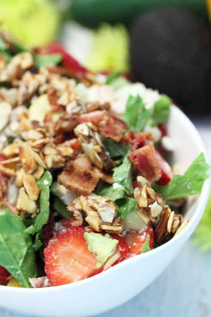 Strawberry Avocado Chicken Salad closeup tall | 2 Cookin Mamas