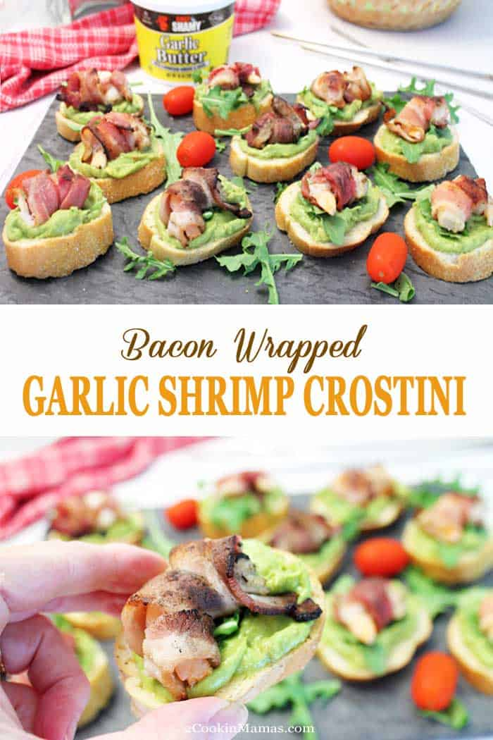 Bacon Wrapped Garlic Shrimp Crostini | 2 Cookin Mamas