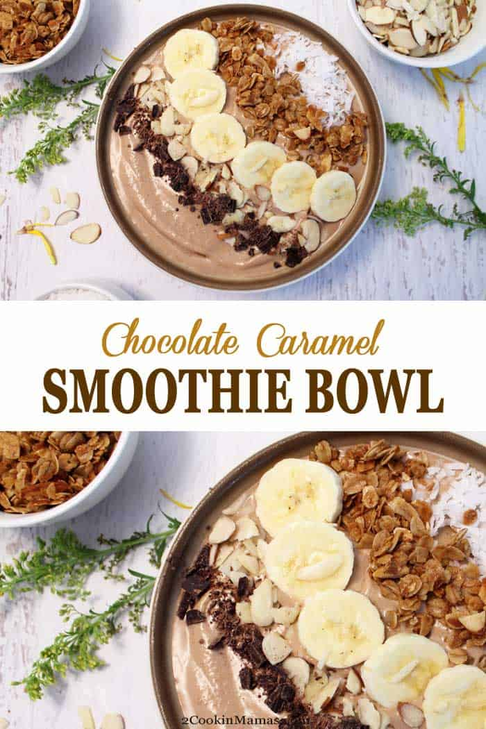 Chocolate Caramel Smoothie Bowl | 2 Cookin Mamas This Chocolate Caramel Smoothie Bowl is a great way to start your morning, fuel up after a workout, or finish your day with a guilt--free dessert. It's a rich chocolaty combination of yogurt, almond butter, bananas, caramel coffee and a healthy servings of greens. So cool off this summer with this deliciously creamy bowl of goodness. #smoothie #healthy #yogurt #green #almondbutter #breakfast #protein #chocolate #recipe #smoothiebowl #easy #coffee
